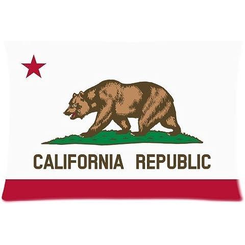 Custom California California Grizzly Bear Flag Element Printed Zippered Pillowcase Pillow Cover 20x30 (Twin