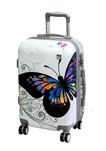 Valigia cabina A2S leggera e resistente valigia rigida con 8 ruote filanti borsa da trasporto (aeroplani) farfalla bianca 55x35x20cm