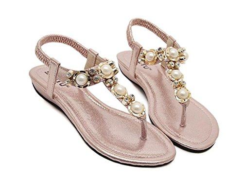 Minetom Damen Mädchen Sommer Bohemia Perle Flip Flop Flach Zehentrenner Sandalen Strandschuhe Parteischuhe Pink