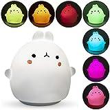 Luz nocturna infantil quitamiedos con forma de animales para mesita de noche | Lámpara LED de conejito con colores RGB para habitación de bebé, recargable vía USB | Regalo original para niños.