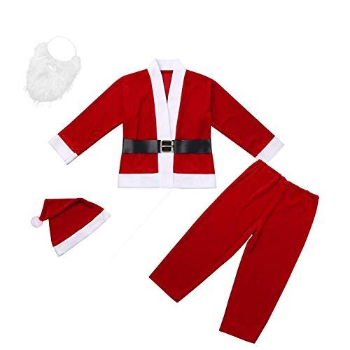 Fiesta Contigo Disfraz de Papá Noel con Chaqueta, pantalón, Barba, Gorro y cinturón para Navidad o Cosplay (niño o Hombre, XXL)