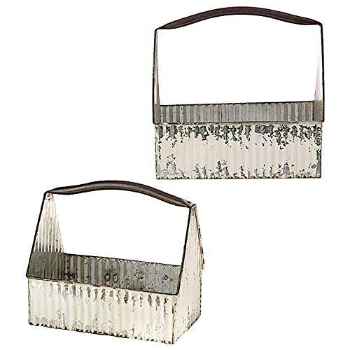 Französisch-land-magazin (RAZ Dekorativer Metall-Eimer für Küche, Garage, Werkzeug, Speisekammer, Garten drinnen oder draußen, rustikales Weiß, 2 Stück)