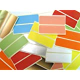 40 Labels , 80x25mm Rectangle , Removable / Low Tack Adhesive , Mixed Colour Code Stickers , Self-Adhesive Sticky Coloured Labels