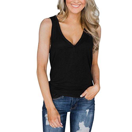 ZIYOU Sling Weste Chiffon, Frauen Ärmellos Rundhals T-Shirt Bluse Elegant Mode Oberteile Einfarbig Freizeithemd Tops (Schwarz-B, L)