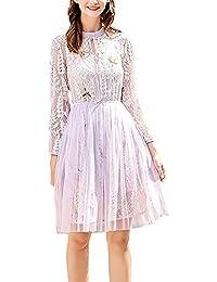 fb45ed6732e1 Vestiti Donna Elegante Festiva Vestito Pizzo Manica Lunga Rotondo Collo  Ricamo Abbigliamento Fashion Vintage Linea Ad A Pieghe Abiti da…