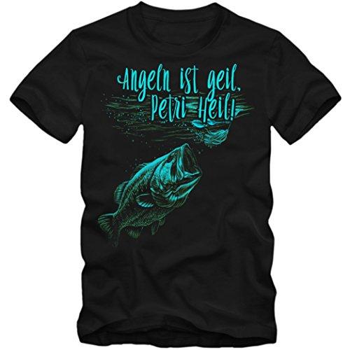 Herren T-Shirt Angeln Ist Geil Petri Heil Fischen Angler Zander S-4XL DTG 02, Farbe:schwarz;Größe:M (T-shirt Angeln Zander)