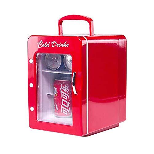TUNBG 4L Mini Auto Kühlschrank Rot Transparente Tür Kleine Gefriertruhe für Autoreisen, Angeln, Studentenwohnheim, Büros 7,71 * 10,35 * 11,22 Zoll