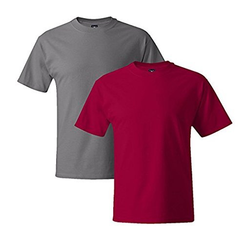 Hanes Mens 5180 Short Sleeve Beefy T, 1 Deep Red/1 Graphite 1 Deep Red / 1 Graphite