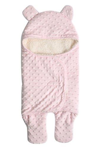 Happy Cherry Baby Polyester Swaddle Neugeborene Kapuze Schlafsack Separate Beine Baby Pucktuch Herbst Winter Mädchen Junge Wickeldecke 0-1 Jahr 75*65cm - Rosa