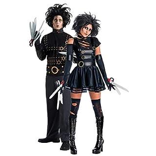 Fancy Me Paar Kostüm Mr & Mrs Edward mit den Scherenhänden Halloween Party Verkleidung Outfit - Schwarz, Ladies UK 6-8 Mens STD