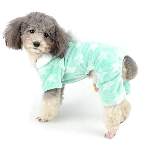 Ranphy Hunde-Pyjama Flecce Overall Winter Jumpsuit Mädchen Haustier Pjs Hoodie Chihuahua Kleidung Welpen Pyjama Outfit Hund Weihnachten Kostüm Yorkie Kleidung für kleine Hunde ()