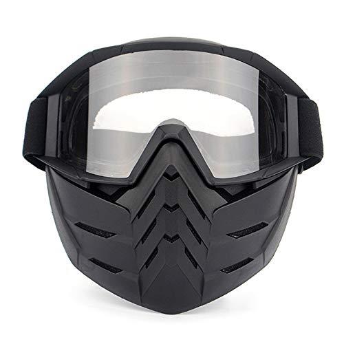 Gnzoe TPU Sandkontrolle Anti-Beschlag Motorradbrillen Fahrradbrille Radsportbrille Radbrille Maske Helmbrille Sportbrille für Motorrad Fahrrad Helmkompatible/Schwarz Klar