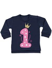 Shirtracer Geburtstag Baby - 1. Geburtstag Mädchen Krone Sterne - Baby Pullover