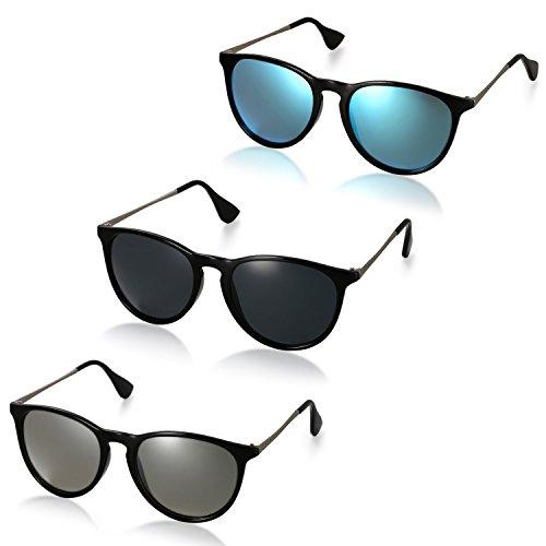 Aroncent 3er Unisex Retro Sonnenbrille Metallrahmen Fliegerbrille Polarisierte Sonnenbrille Verspiegelt Pilotenbrille UV400 Schutzbrille für Damen und Herren, Schwarz, Blau, Silber