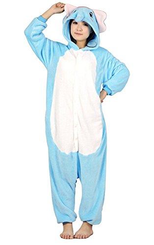Imagen de abyed kigurumi pijamas unisexo adulto traje disfraz adulto animal pyjamas,azul elefante adulto talla xl para altura 175 183cm