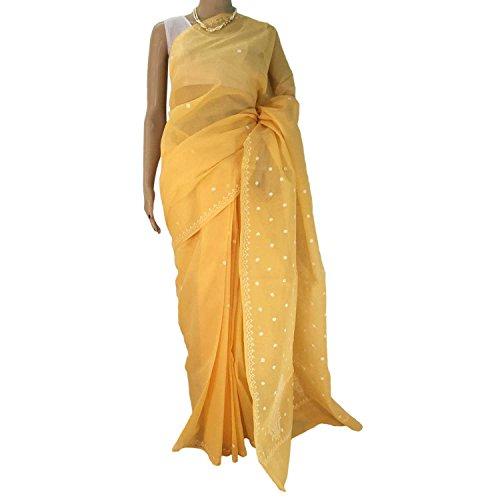 R'ZU Women's Mango Yellow Cotton Ethnic Chikankari Saree