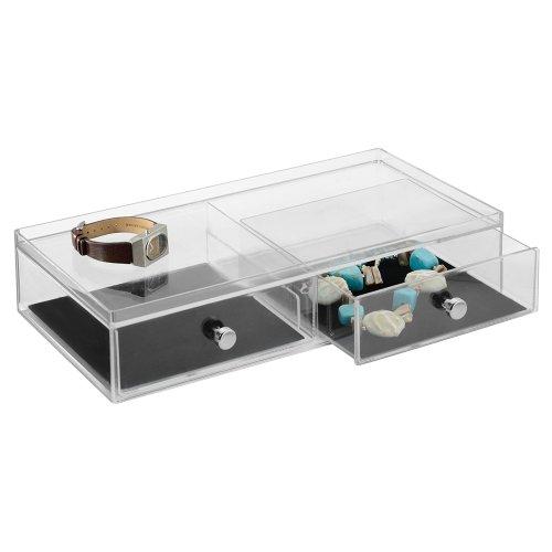 Rechteckige Schublade (InterDesign Clarity Jewelry Schmuckaufbewahrung | Schmuckkasten mit 2 Schubladen für Uhren, Ketten, Ringe etc. | Schmuck Organizer mit Kratzschutz | Kunststoff durchsichtig)