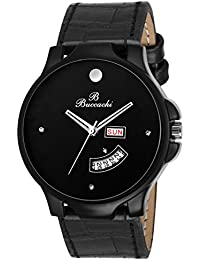 Buccachi Analouge Black Dial Watches Water Resistant Black Color Leather Strap Watches For Mens/Boys B-G5036-BK-BK