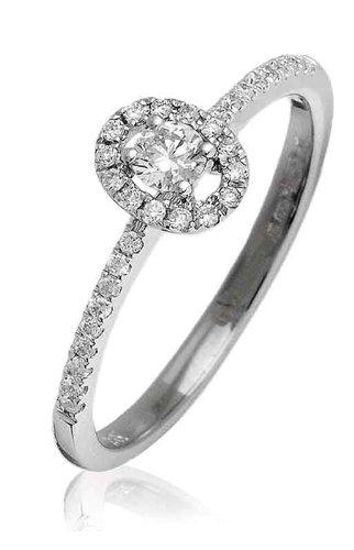0.25ct Certificato G/VS2Round Brilliant Centro con forma ovale Halo Diamante Anello con diamanti sulle spalle in Oro Bianco 18K, oro bianco, 56 (17.8), cod. FL-3531