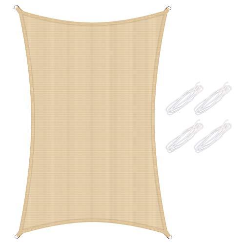 Yodeace Toldo Vela de Sombra Rectangular, Protección Rayos UV Pabellón Ventilado de Tela HDPE para Patio al Aire Libre, Jardín, Piscina 2 x 3 Metros