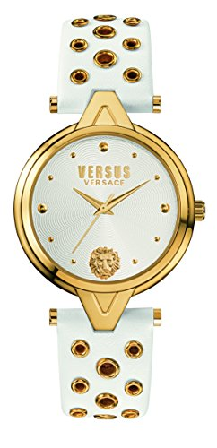 Versus by Versace Women's 'V Versus eyelets' Quartz Stainless Steel and Leather Casual Watch, Color White (Model: SCI040016)