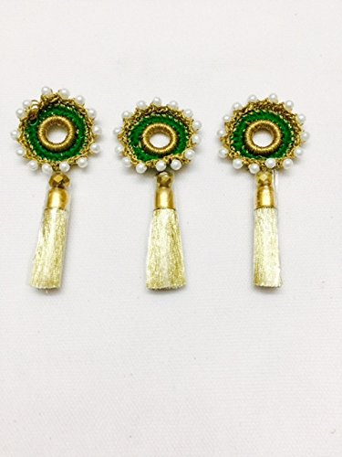 3 Pieces of Green colour tassels