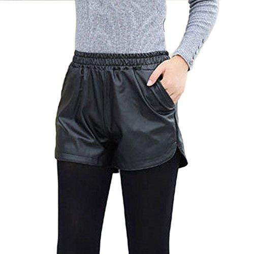 Patgoal Cuoio elastico Donne Sport Shorts Mid allentati Pantaloni a vita S-XXL