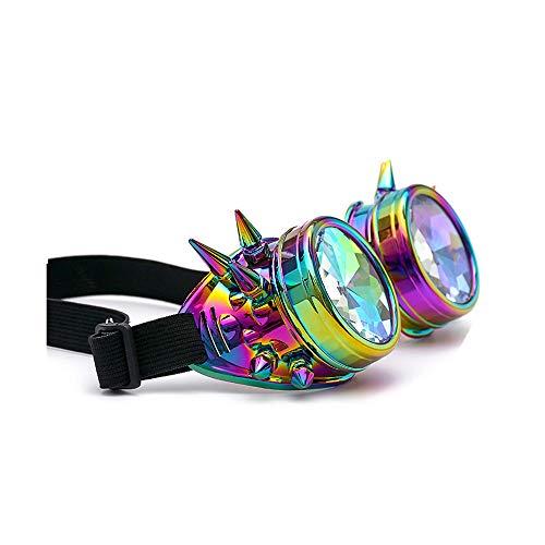 Clacce Premium Qualität Steampunk Brille Cyber Brille Viktorianischen Punk Stil Schweißen Cosplay Gothic Goth Rustikale Rivet Vintage Runde Rave ()