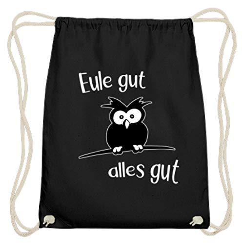 Shirtee Eule gut, alles gut | für lustige Optimisten, positive Denker und Kauz und Eulen-Liebhaber - Baumwoll Gymsac -37cm-46cm-Schwarz
