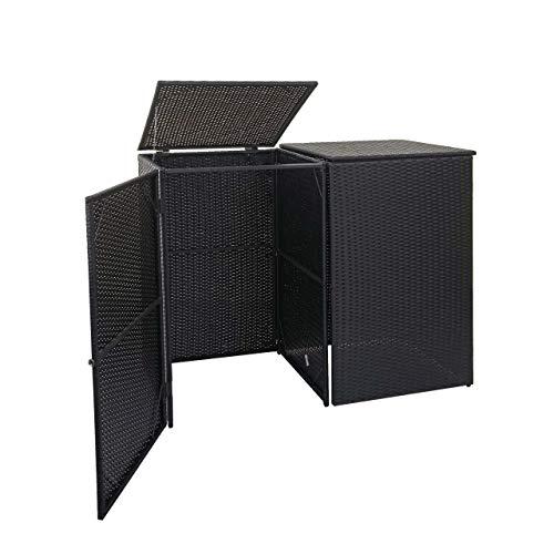 Mendler 2er-Mülltonnenverkleidung HWC-E25, Mülltonnenbox Mülltonnenabdeckung, Poly-Rattan 2x120l ~ schwarz
