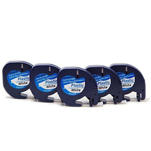 yenlok 5 x Dymo LetraTag 12mm x 4m Schriftband Kompatibel für S0721660 Kunststoff Etikettenband für LT-100H LT-100T Plus LT-100H LT-100T XM 2000 Dymo LetraTag QX50 Dymo LetraTag XR