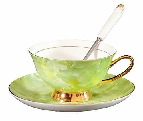 Porzellan Keramik Tee-Tasse Kaffeetasse, Marmormuster, Grün