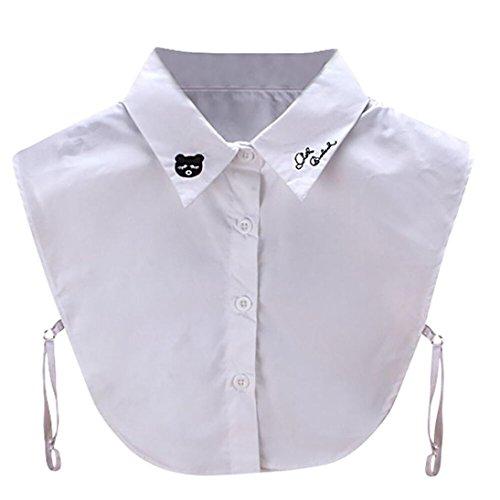 Kanpola Damen Kragen Bluse Top Elegant Abnehmbare Blusenkragen Shirtkragen Topkragen Weiß/Grau (Weiß) (Harlekin-baumwolle)