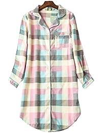 Pijama Mujer algodón Invierno Manga Larga Ropa de Dormir Tallas Grandes camisón Botones Pijamas