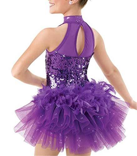 IEFIEL Vestido Maillot de Ballet Danza Niñas Traje de Jazz Baile Latin de Lentejuelas Leotardo con Falda Tutu Pluma Mono sin Mangas Ropa de Actuación Fiesta Morado 7-8 Años