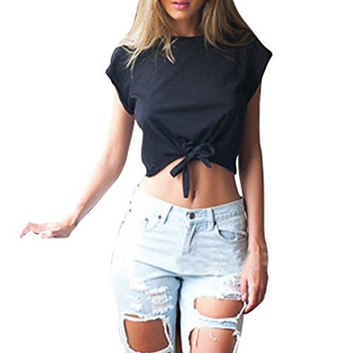 Bling Stars T Shirt Women Knots Cotton Bow Cap Sleeve Crop Tops Camisole Shirt Blouse