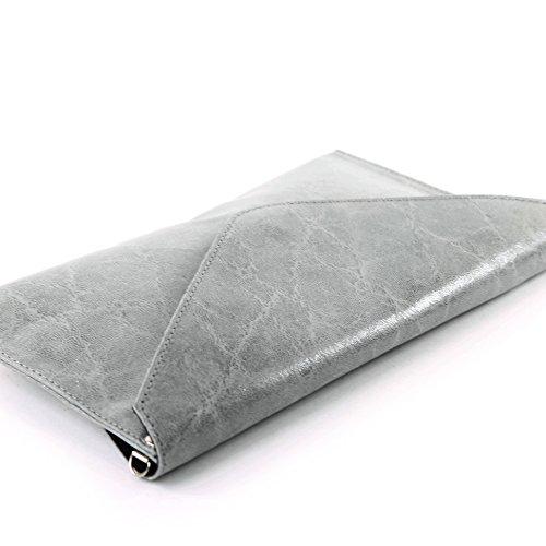 modamoda de - ital. Ledertasche Clutch Unterarmtasche Abendtasche Damentasche Handgelenktasche Glattleder T106G Grau