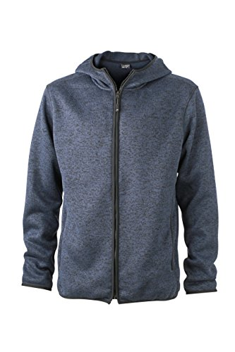 James & Nicholson Herren Sweatshirt Fleece Men's Knitted Hoody blau (Denim-Melange/Black) Medium Denim Fleece-sweatshirt