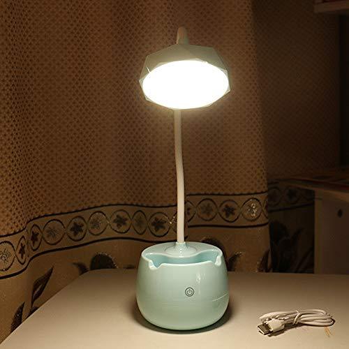 Stifthalter Schreibtischlampe USB wiederaufladbare Touch Drei-Geschwindigkeit Dimmen Lesen Lernen Auge Tischlampe Schlafzimmer Nachttischlampe blau Halterung 14cm * 12.5cm * 12.5cm (Unterwasser-schlafzimmer)