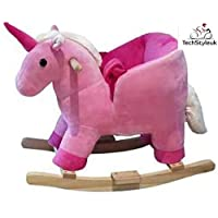 Techstyleuk® Pink Plush Unicorn Wooden Rocking Horse Toy Toddler Baby Ride On With Seat Chair