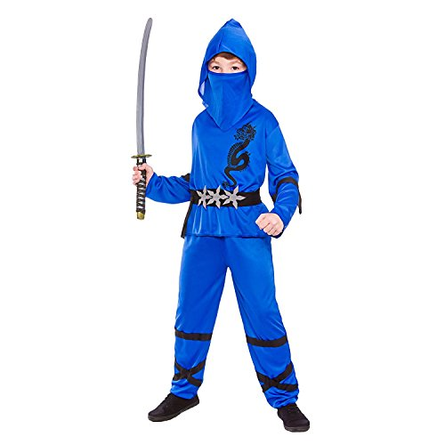 Jungen Energie Ninja Blau Kostüm 110-122cm (Energie Schwert Kostüm)