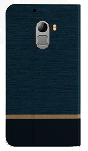 FebeloTM Branded Professional Design Customised Perfect Fitting Video Stand View Flip Cover Case for Lenovo Vibe K4 Note – (Navy Blue Color)