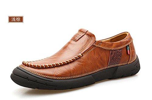 SHIXR Männer Slip-On Oxford Schuhe Britische Retro Männer Erste Schicht von Leder Füße Männer Schuhe Junge Nähen Schuhe light brown
