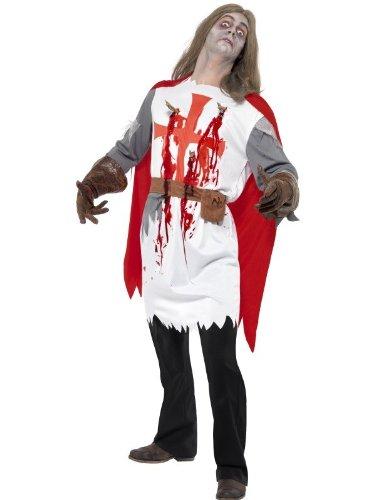 Zombie Ritter Bogenschütze Tempelritter Halloweenkostüm Kostüm für Halloween Horror Kreuzug Herrenkostüm Kostüm für Herren Leiche Untod Tod Wunden Blut Tunika Pfeile Pfeil und Gürtel Gr. 48/50 (M), 52/54 (L), Größe:M
