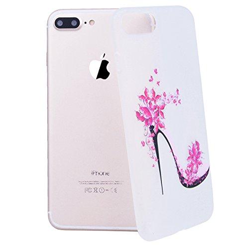 SMART LEGEND iPhone 7 Plus Weiche Silikon Hülle Bumper Schutzhülle Transparent Hülle mit Begonia Blumen Muster Handyhülle Crystal Kirstall Clear Etui Ultra Slim Design Glatt Durchsichtig Weich TPU Han Heels