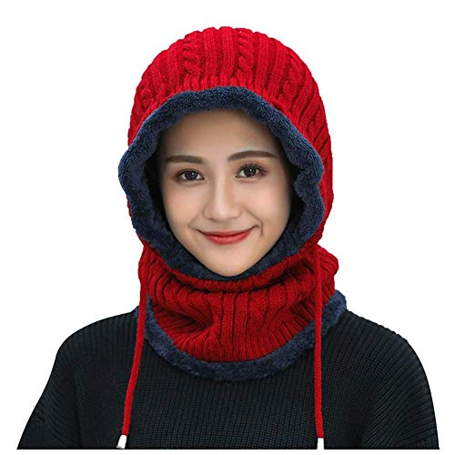 LIXUE Chapeau Femme Hiver Version coréenne de The Tide Knit Chapeau Épaissir Conjoint au Chaud Cache-Oreilles froids pour Dames Vélo Hiver Protection Contre Les Oreilles, Mode Sauvage Chaud