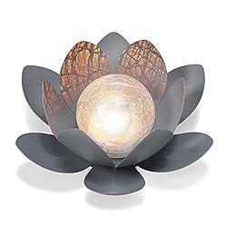Dekorative Solar Lotusblüte aus Metall mit Glaskugel - angenehm warmweißes Licht - traumhafte Lichteffekte - Bruchglasoptik - (D x H): 27 x 9cm - Solarlampe Gartenbeleuchtung Lotusblume esotec 102086