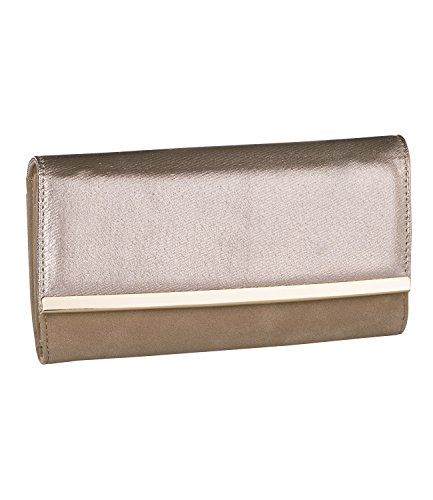 SIX Roségoldenes Portemonnaie, Geldbeutel, Geldbörse mit metallic Effekt und Wildlederoptik (703-298)