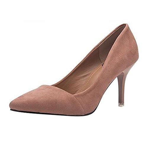 junkai Damen Pumps Wildleder - Elegant Bequeme Schuhe Kleiner Absatz Party Abendschuhe Spitze Schuhe mit 5cm Absatz Nude 40EU
