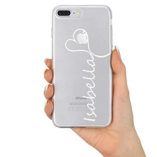 TULLUN Personalisierte Marmor Name & Herz Brauch Schutzhülle aus Hartplastik Handy Hülle für iPhone Modelle - Name Hintergrund Löschen - für iPhone 7 Plus / 8 Plus